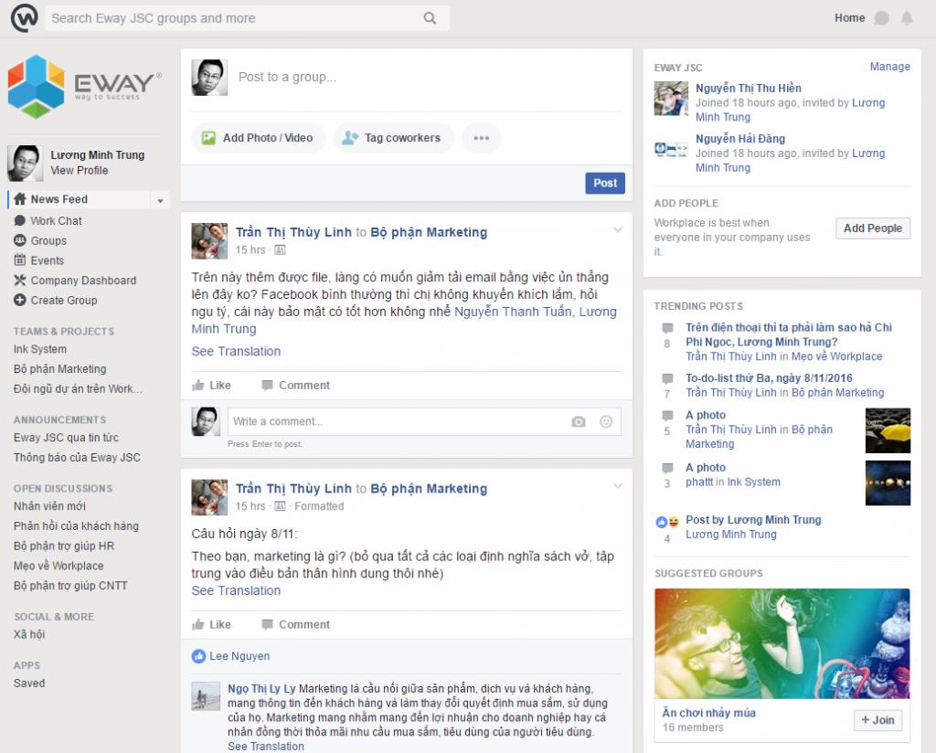 Facebook Workplace có đầy đủ các tính năng vốn có của Facebook nhưng bổ sung rất nhiều công cụ nâng cao cho việc quản lý doanh nghiệp.