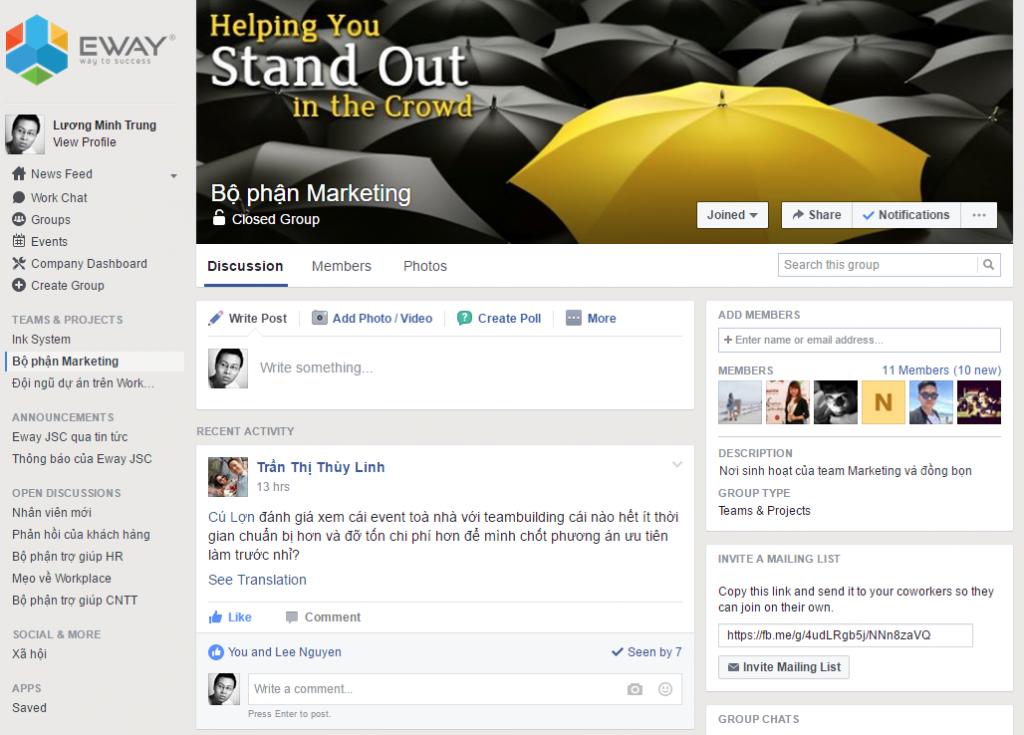 Làm việc nhóm dễ dàng và bảo mật hơn rất nhiều so với Facebook cá nhân.